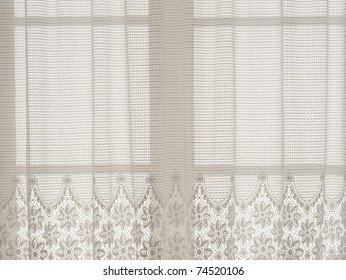 Neutral lace curtain with flower pattern, background image, copy space