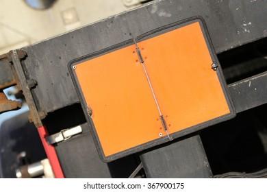 neutral orange-colored plate