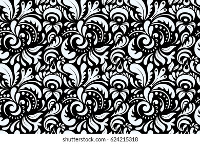 Neutral seamless background doodle ornament pattern. Abstract arabesque background for greeting card, presentation or wedding invitations. Traditional raster gothic damask background.