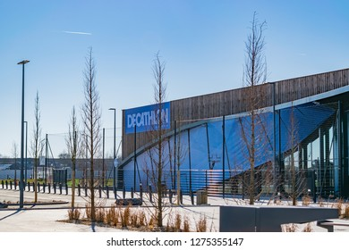 Neuville-en-Ferrain Roncq,FRANCE-February25,2018:Newly built decathlon store in the Roncq shopping center.French Shops Decathlon is one of the largest sales networks for sports equipment in the world.