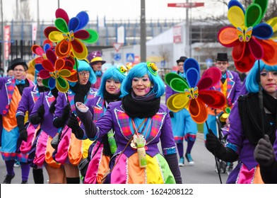 Neuwied, Germany 11 February 2013. Annual German carnival, Rosenmontag (English: Rose Monday) takes place on the Shrove Monday before Ash Wednesday, the beginning of Lent. People in colorful costumes.