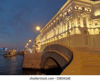 Neva promenade in St. Petersburg at night HDR