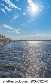 Neva river and the embankment in Saint Petersburg in a sunny summer day