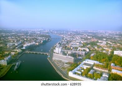 Neva river - wide angle aerial view [#4908]