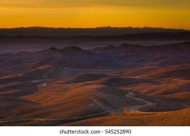 Nevada desert landscape in morning sunrise light.