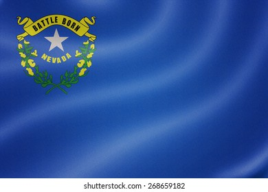 Nevada flag on the fabric texture background