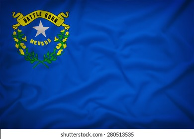Nevada flag on the fabric texture background,Vintage style
