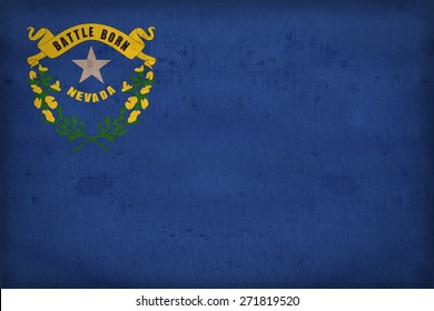Nevada flag on fabric texture,retro vintage style