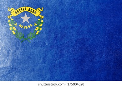 Nevada State Flag painted on leather texture