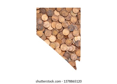 Nevada State Map and Money Concept, Piles of Coins, Pennies