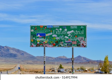 NEVADA, UNITED STATES - OCTOBER 18, 2013 -  Extraterrestrial Highway road sign in Nevada, USA