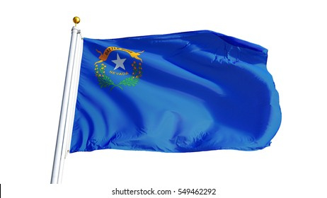 Nevada (U.S. state) flag waving on white background, close up, isolated with clipping path mask alpha channel transparency, perfect for film, news, composition