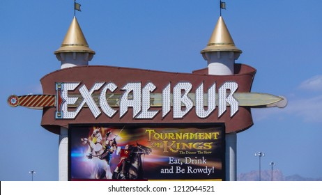 Nevada - USA - 08-03-2015: sign of the Excalibur Hotel and Casino in Las Vegas.  The Hotel was named after King Arthur's sword and opened in 1990.