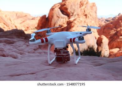 Nevada, USA -10 October 2014: Dji phantom quadcopter (drone) with gopro hero camera in the american desert.