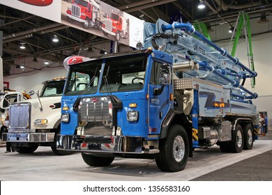 Nevada, USA - Jan 22, 2019: Peterbilt Concrete pump at World of Concrete 2019, Las-Vegas, Nevada