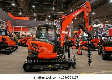Nevada, USA - Jan 22, 2019: Mini excavator Kubota U55-4 at World of Concrete 2019, Las-Vegas, Nevada
