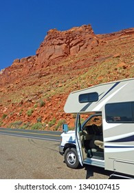 NEVADA, USA - June 20, 2015: Big RV for a rest in the Red Rock´s of Nevada