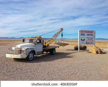 NEVADA, USA - OCTOBER 16, 2013 - Rachel's old pickup truck in the small town along the famous extraterrestrial highway in Nevada