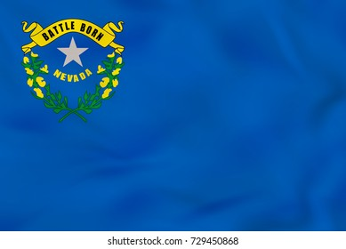 Nevada waving flag. Nevada state flag background texture. Raster copy.