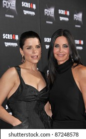 "Neve Campbell & Courteney Cox (right) at the world premiere of their new movie ""Scream 4"" at Grauman's Chinese Theatre, Hollywood, April 11, 2011  Los Angeles, CA Picture: Paul Smith / Featureflash"