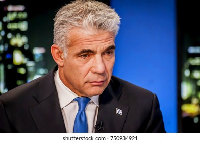 NEVE ILAN, ISRAEL. November 8, 2017. Israeli politician, the chairman of the Yesh Atid political party, in the TV studios of Channel 9 TV.