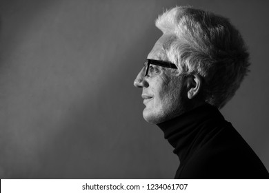 Never get old, handsome and sexy at every age concept. Portrait of fashionable mature man wearing trendy eyewear