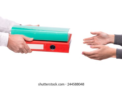 I'll never get through all this. Man passing two folders with heap of paper to his colleague isolated on white background