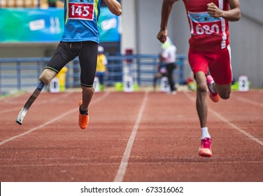 Never Give Up, Disabled Athletes compete in an athletic competition