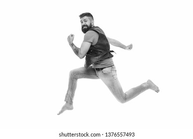 Never stop. Man thief run away. Keep moving concept. Guy bearded hipster captured in running motion isolated on white background. Bearded man running high speed. Escape and runaway. Running motion.