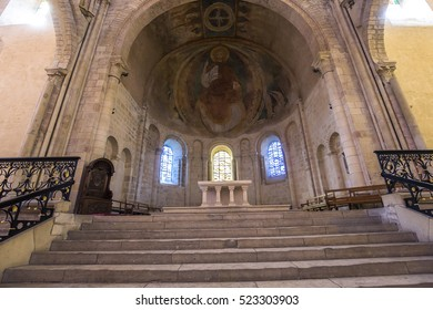 NEVERS, FRANCE, SEPTEMBER 20, 2016 : interiors and details of saint-cyr-sainte-julitte cathedral, september 20, 2016, in Nevers, France