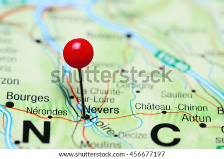 Nevers Pinned On Map France Stock Photo (Edit Now) 456677197 ...