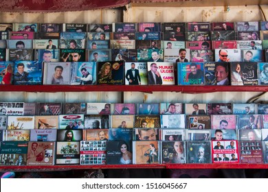 Nevsehir / Turkey 08.19.2019 A shop selling old Turkish albums and tapes