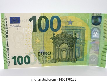 New 100 euro banknote  on 28 may 2019. White background