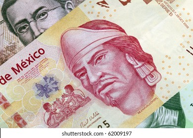 New 100 peso mexican bill mede of plastic, aside from other bills.