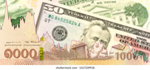new 1000 thai baht against us-dollar banknotes with decline graph indicating trade relations