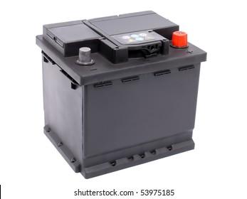New 12V car battery isolated on white background