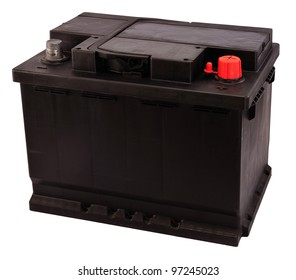 New 12V rechargeable car battery isolated on white (electrical charge: 56Ah).