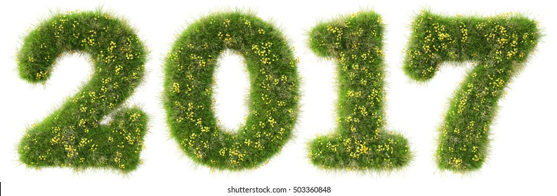 new 2017 year from the green grass. isolated on white. 3D illustration.