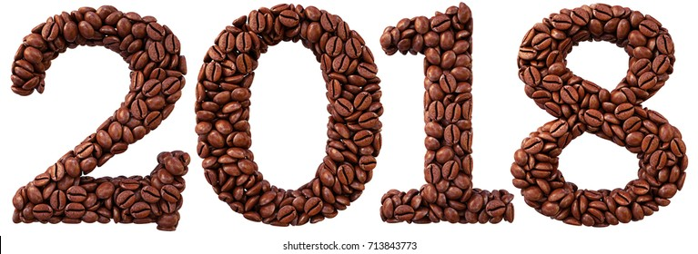 new 2018 year from coffee beans. isolated on white. 3D illustration.
