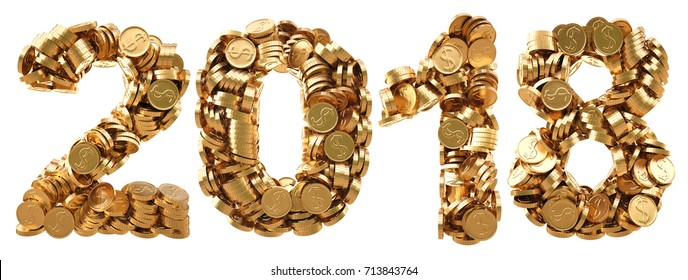 new 2018 year from the golden coins. isolated on white. 3D illustration.