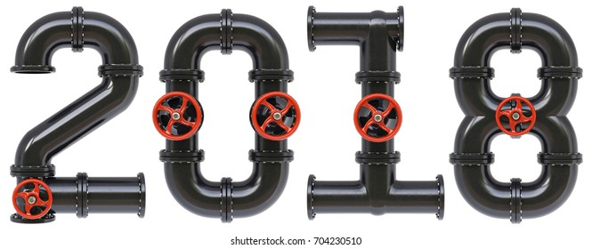 new 2018 year from oil pipes. Isolated on white background. 3D illustration.