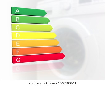 New 2019 european energy efficiency classification label with classes from A to G in front of washing machine background