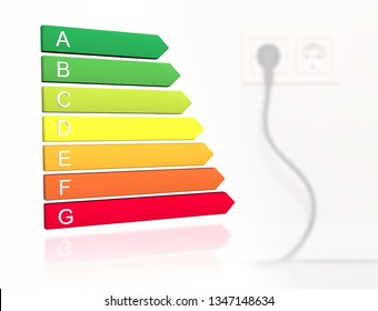 New 2019 european energy efficiency classification label with classes from A to G in front of cable plugged into wall socket background