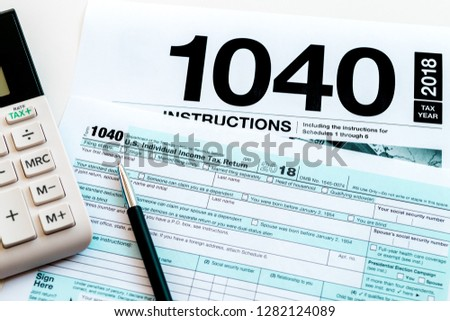 New 2019 Irs 1040 Tax Form Stock Photo Edit Now 1282124089