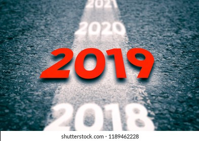 New 2019 Year Concept. 2019 New Year Road.