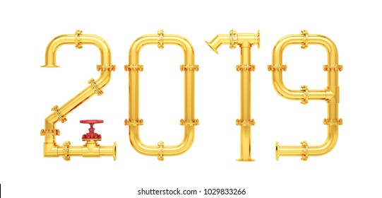 New 2019 year from gas pipes. Isolated on white background. 3D Render