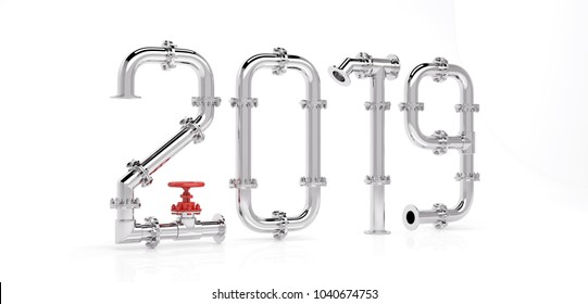 New 2019 year from gas pipes. 3D Render