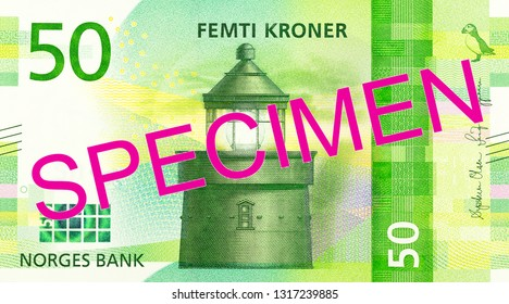 new 50 norwegian krone banknote obverse