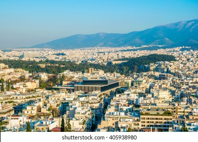 The new Acropolis museum, view from Filopappos hill