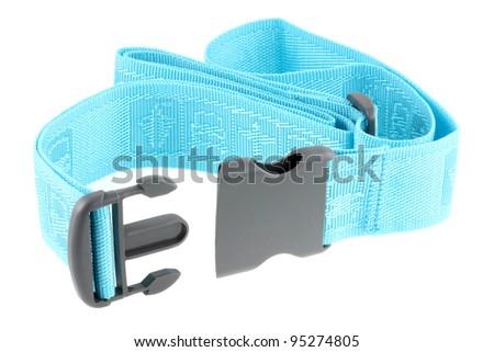 A new adjustable Travel Luggage Belt with blue strap and polypropylene buckle isolated on white background